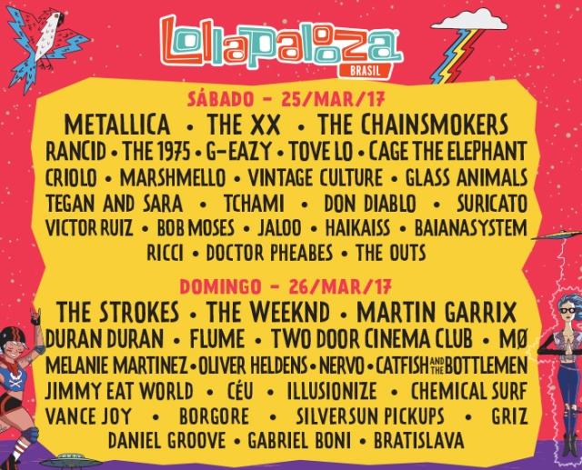 Line Up Lollapalooza Brasil 2017