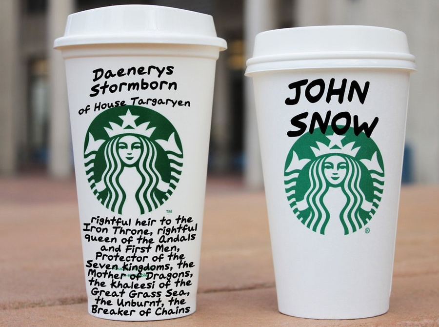 Jon Snow e daenerys copo do Starbucks